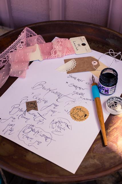 Meine Kalligraphieversuche für Einmachgläser