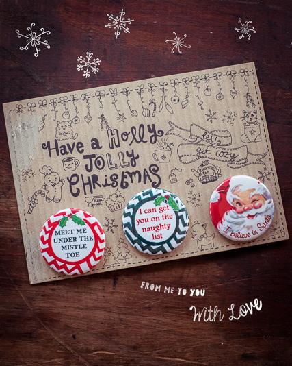 Mein selbst entworfenes Weihnachts-Button Set mit Karte