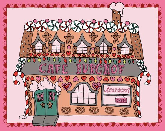 Das Cafe Burghof, am Schloss Burg an der Wupper. Dort finden die Weihnachts-Tearooms statt