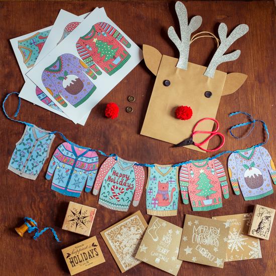 """Wir basteln eine """"Christmas Sweater""""-Girlade. eine Rentier Tüte und eine individuelle Weihnachtskarte."""