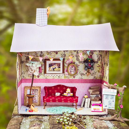 Rosa Haus als Puppenhaus