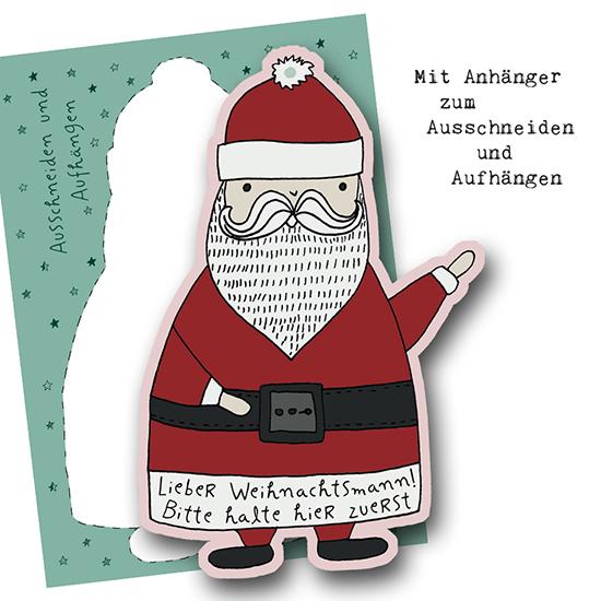 Dieses Jahr ist ein Anhänger zum Ausschneiden und Aufhängen dabei. So findet der Weihnachtsmann Dein Haus schneller.