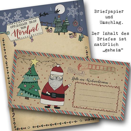 So sieht beim Brief vom Weihnachtsmann der Umschlag und das Briefpapier aus. Der Inhalt des Briefes ist natürlich geheim.
